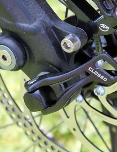 The new Slayer uses Shimano's E-Thru 142x12mm rear through-axle