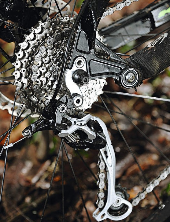 Shimano's XT rear mech appears  on sub-£1000 hardtails, but  rarely on full-sussers