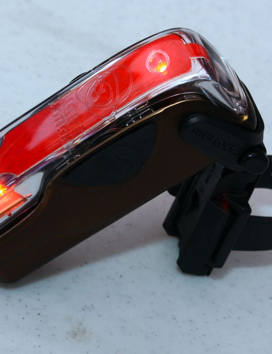 The new Vis 180° boasts a bright 35-lumen red emitter plus amber side blinkers for enhanced visibility.  The on-board Li-ion battery is charged via a mini-USB plug.