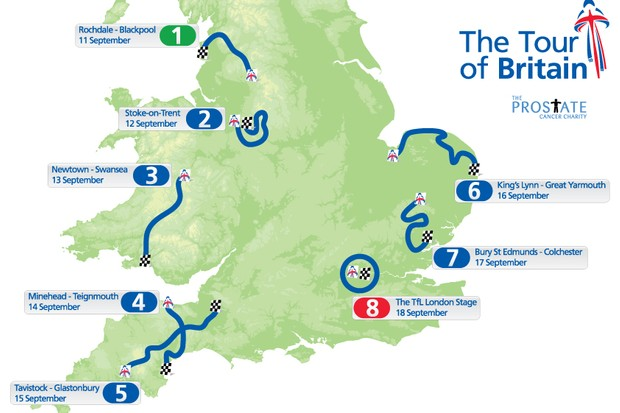 Stage map for the 2010 Tour of Britain