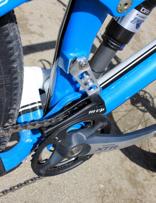 The custom MRP 1.X chainguide mount uses the Remedy's direct mount derailleur attachment