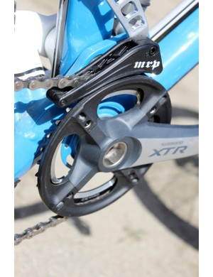 The custom machined chainguard perfectly matches the Shimano XTR crank