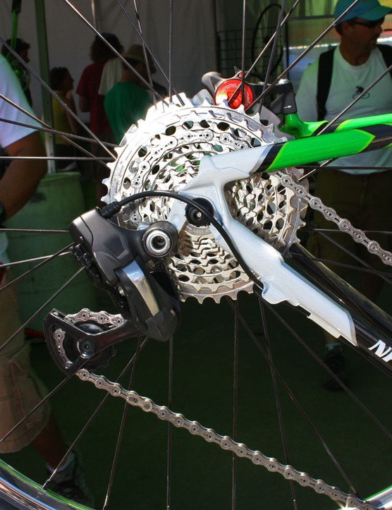 The Shimano Dura-Ace Di2 rear derailleur moves the KMC chain across a SRAM XX 10-speed cassette.