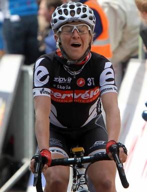 Emma Pooley grimaces after winning the women's Fleche Wallonne