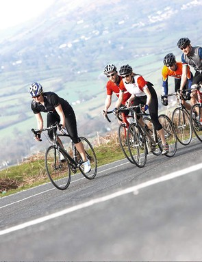 Riding long hours alone is hard, so try to rope in some like-minded mates to make your training rides more fun