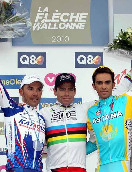 Men's podium: Joaquin Rodriguez (2nd), Cadel Evans (1st) and Alberto Contador (3rd)