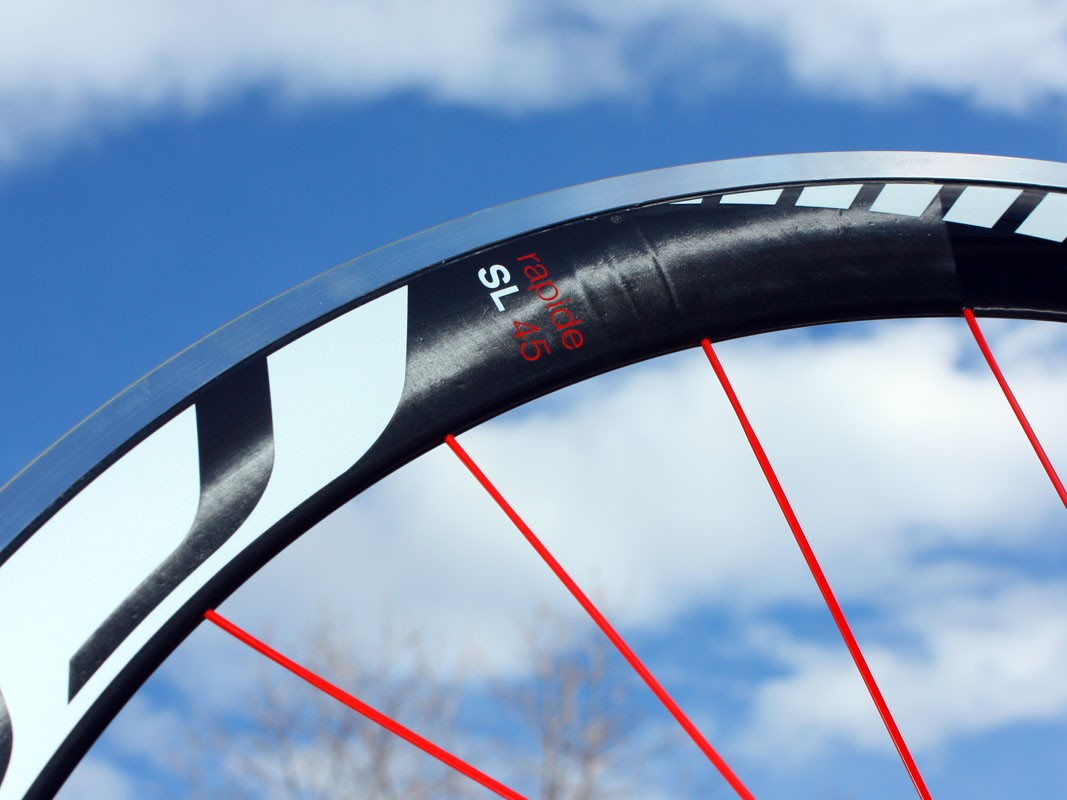 The 45mm-deep rim is notably fast at speed but is rather heavy at 525g apiece
