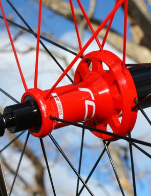 The machined high-low flanges are designed to help equalize spoke tension between the two side