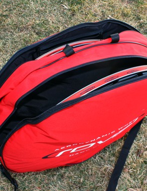 The included double wheel bag is unusually robust