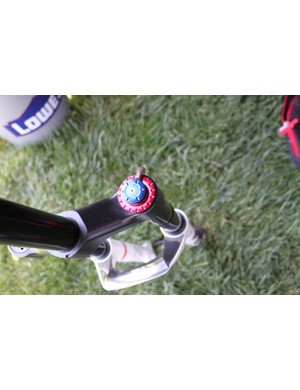 The Twin Shot damper with lever actuated lockout, plus rebound and low-speed compression adjustment dials.