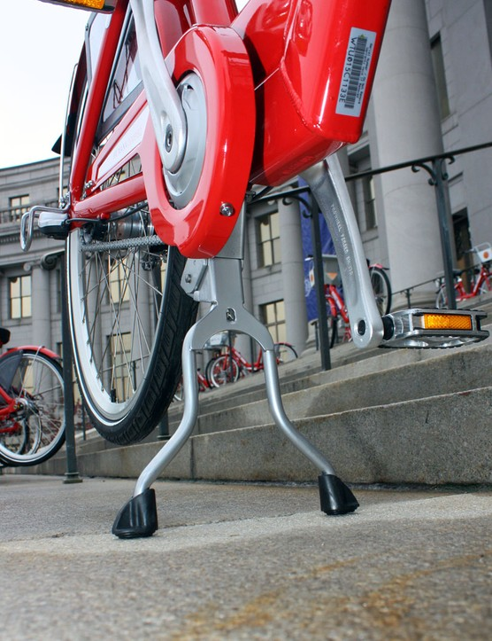 The Euro-style dual-leg kickstand holds the bike upright when not being ridden.