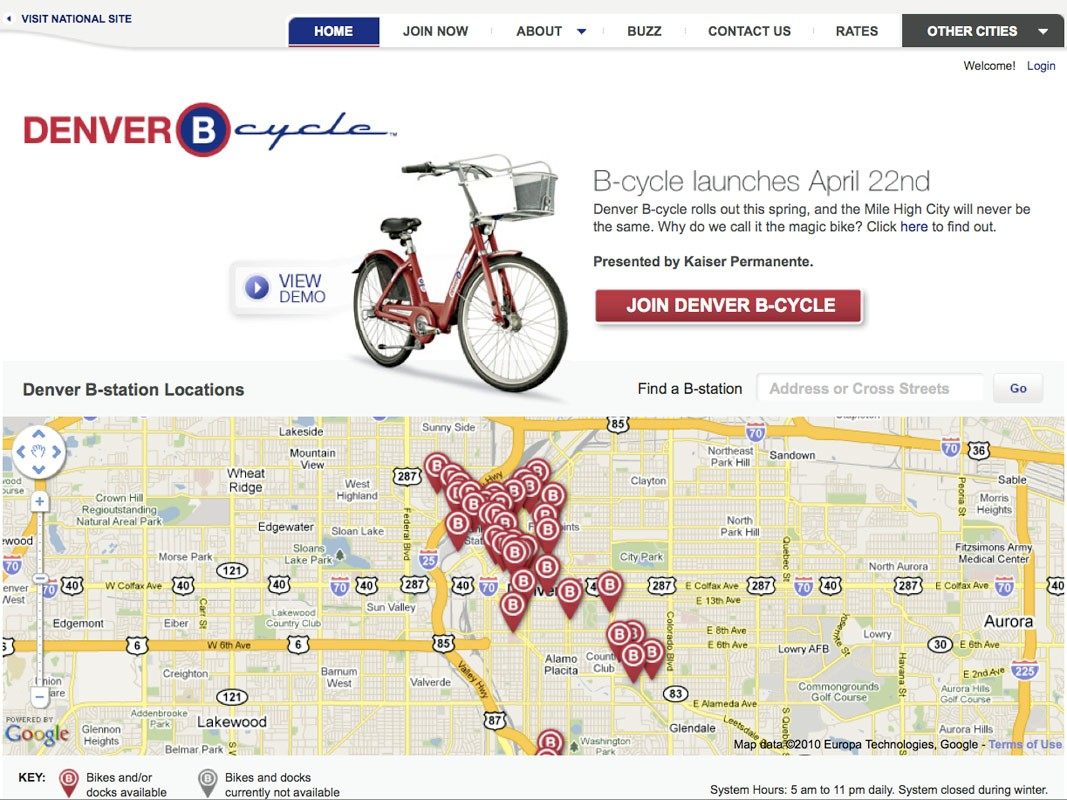 Denver, Colorado's downtown and surrounding areas are now home to 40 fully functional B-cycle bike-sharing stations.