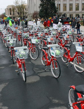 Scores of B-cycles took to the streets of downtown Denver to celebrate the opening of the city's B-cycle bicycle-sharing system.