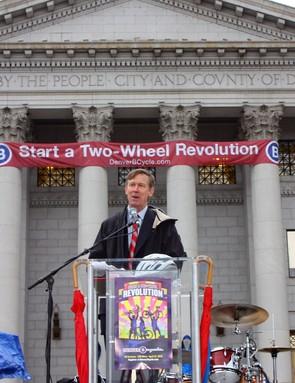 Denver, Colorado mayor John Hickenlooper is a big believer in using bicycles for transportation.