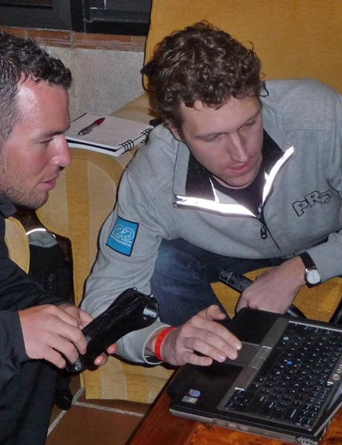 Mark Cavendish and Leon van Strien, PRO product manager