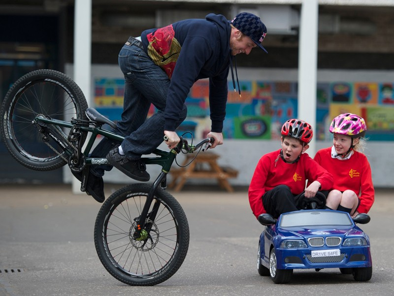 Danny MacAskill is fronting a campaign that calls for drivers to give children the space and time they need to safely cycle to school