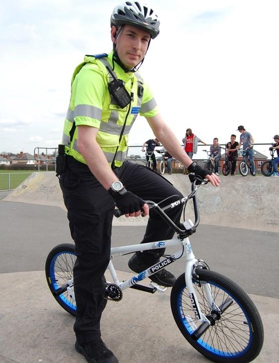 PCSO Vince Preston at Blaby Road skate park in Wigston