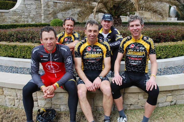 Honey Stinger staff members on a trip to Austin, Texas. Front row: Lance Armstrong, Rich Hager, Len Zanni. Back row: Bill Gamber and Bart Knaggs