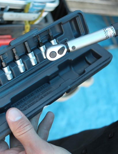 The torque wrench is equipped with all of the standard bits for bike use