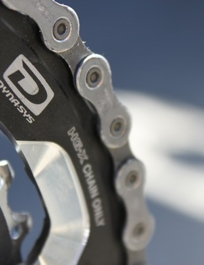 Notice the profiling of the middle chainring's teeth