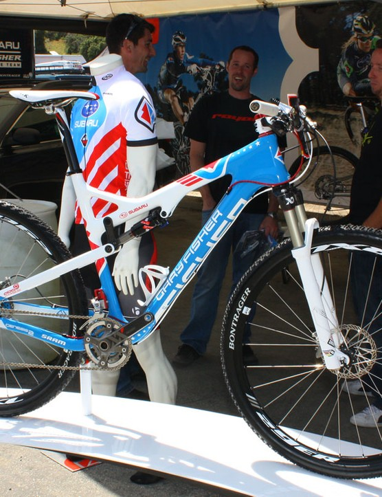 US national champion Jeremy Horgan-Kobelski had his Gary Fisher Superfly 100 on display in the California sun
