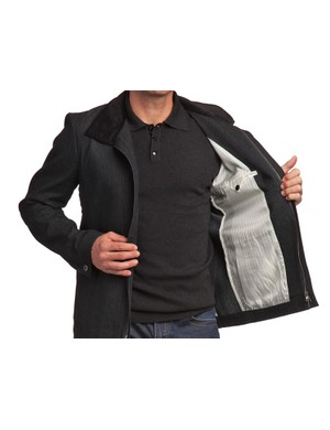 Velvet collar and cuff links are standard on the Derny trenchcoat