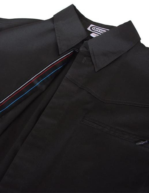 Derny shirt has a button-down collar