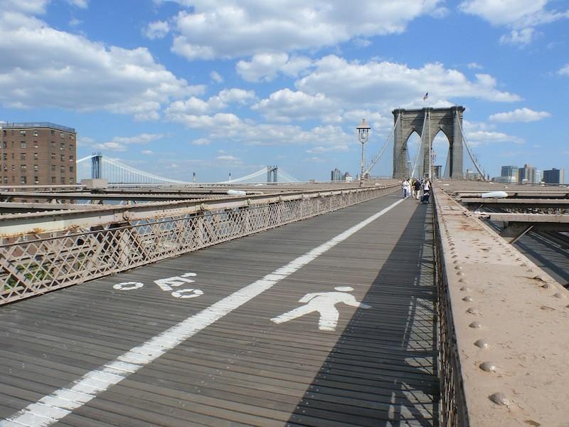 The Brooklyn Bridge bike path.