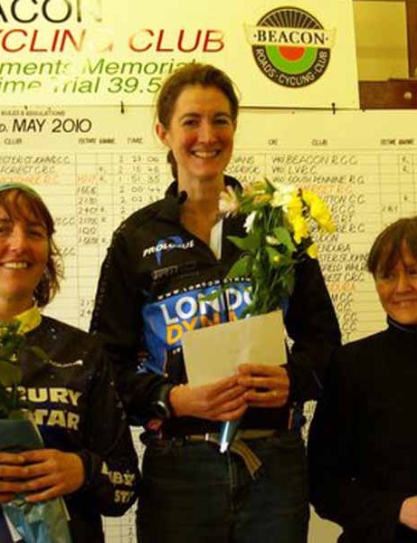 Women's podium: Nicky Xandora (2nd), Rebecca Slack (1st) and Fenella Brown (3rd)