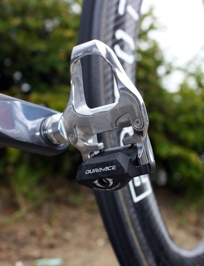 Wiggins puts the power down through a pair of Shimano Dura-Ace SPD-SL pedals