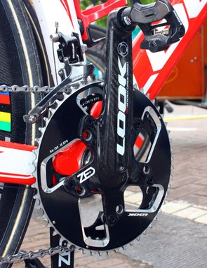 While Cofidis use FSA cranksets on the road, their time trial bikes used Look's proprietary Zed crank