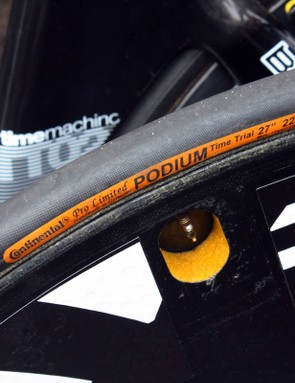 Evans chose Continental Podium time-trial-specific tubulars for the prologue through downtown Amsterdam