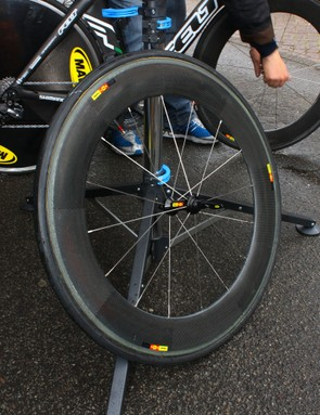Mavic's 'CC80' deep-section carbon tubular wheel is still undergoing testing, with no release date yet announced