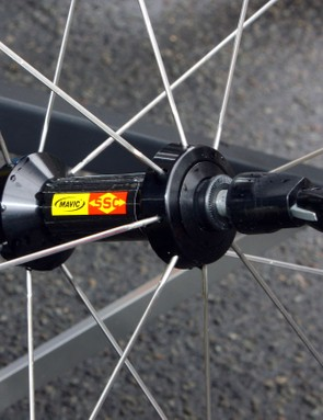 The familiar-looking front hub uses an aluminium body and axle plus Mavic's usual bearing preload adjustment