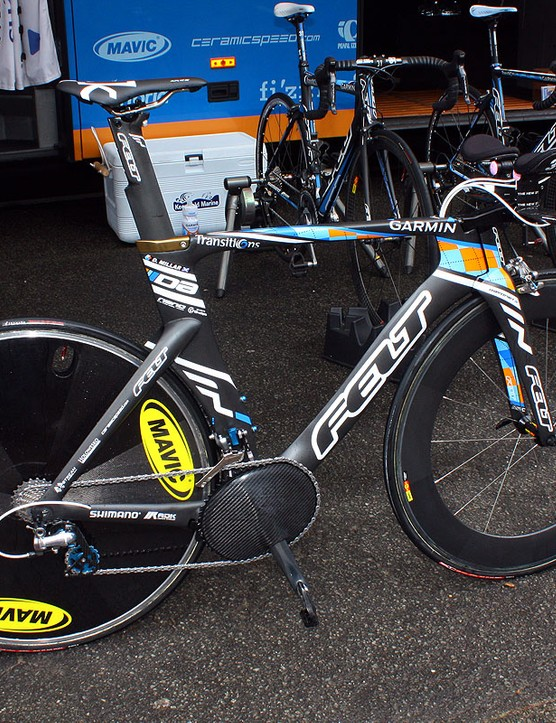 Garmin-Transitions bicycle sponsor Felt has provided David Millar with a new version of its DA time trial machine.