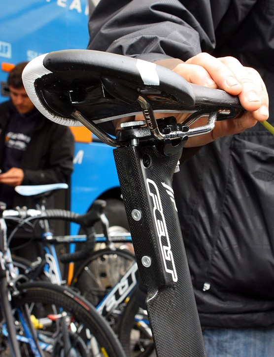 The flattened section on the back of the seatpost provides a dedicated area to mount a Shimano Dura-Ace Di2 battery.