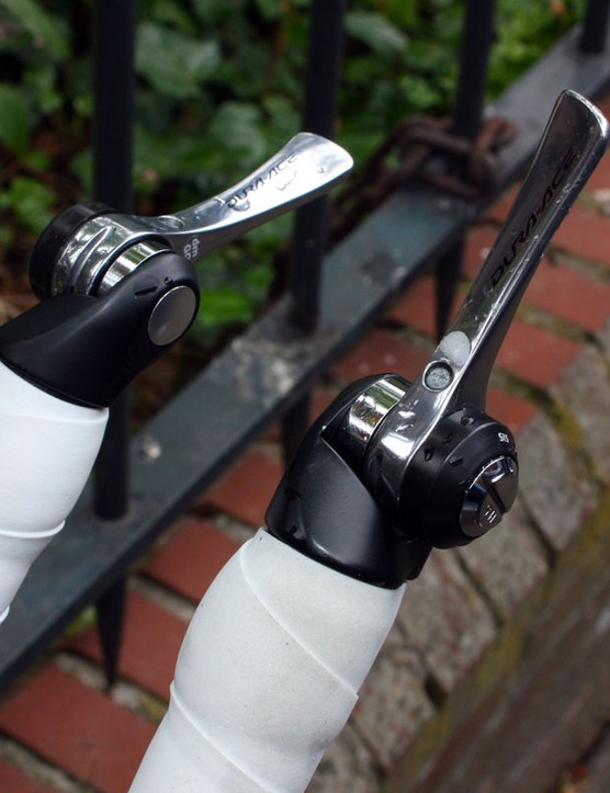 interestingly, David Millar (Garmin-Transitions) prefers to use straight down tube shift levers instead of the curved ones normally intended for bar-end use.