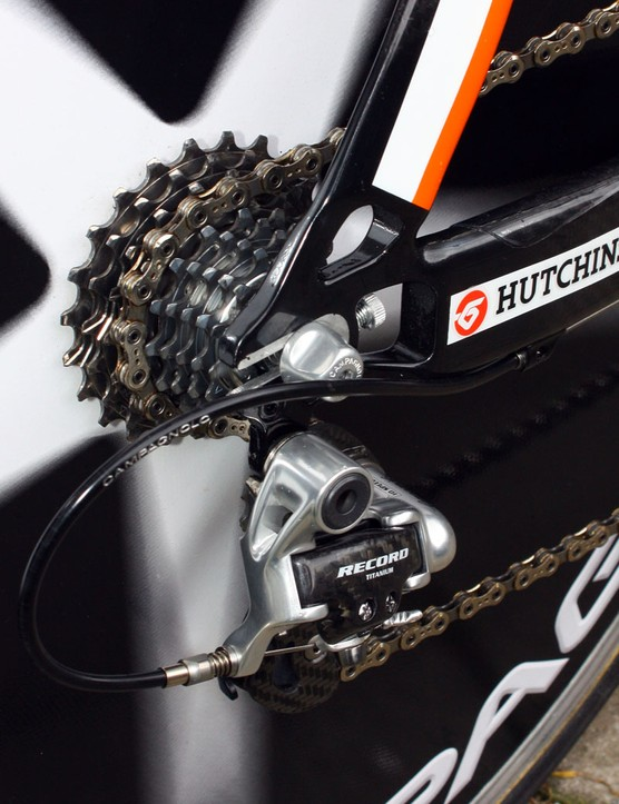 The alloy dropouts on BBox-Bouygues Telecom's Colnago Flight frames include built-in adjusters