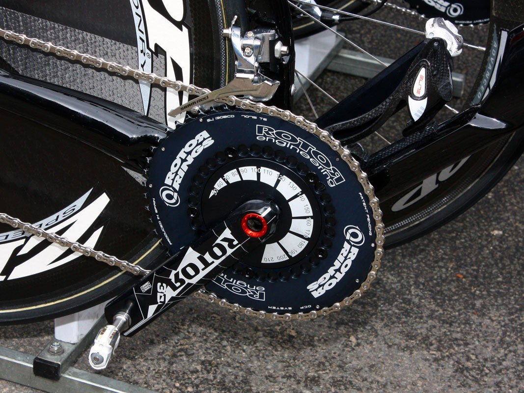 Rotor Q-Rings and 3D crankarms are bolted to this Cervélo TestTeam P4