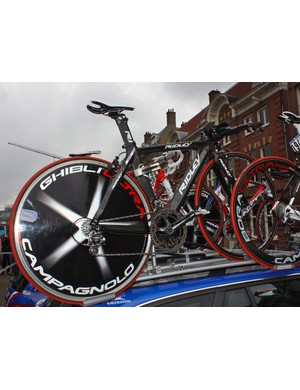 Katusha rider Mikhail Ignatyev had this unnamed Ridley time trial bike in reserve for the opening Giro d'Italia prologue