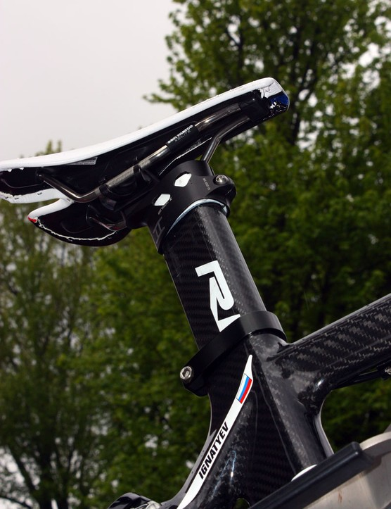 Mikhail Ignatyev's (Katusha) unnamed Ridley time trial bike looked to be either a work in progress or something that was roughly gathered up judging by the combination telescoping/integrated seatpost setup