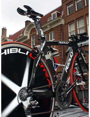 Sharp points are included on both the chainstays and seatstays of Mikhail Ignatyev's (Katusha) Ridley time trial spare
