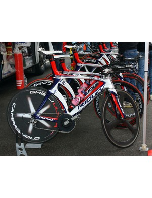 Vladimir Karpets (Katusha) rocketed around the streets of Amsterdam on this Ridley Dean