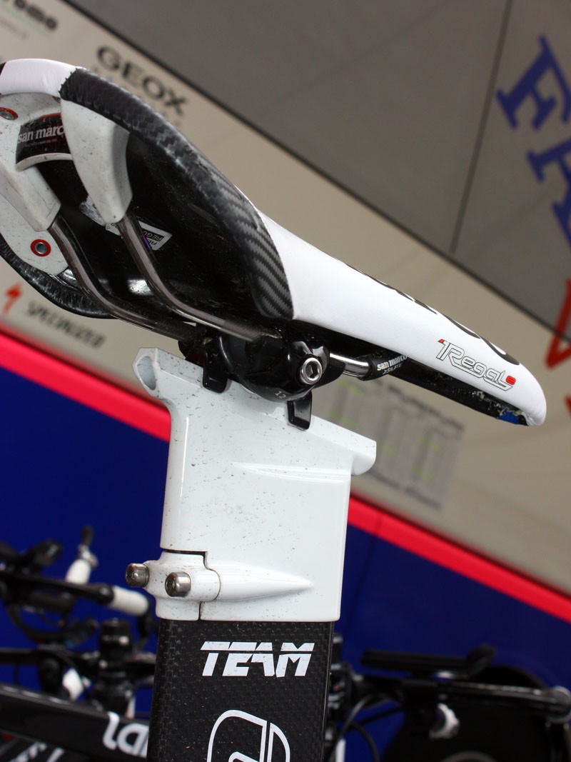 The Ritchey head on Lampre-Farnese Vini's time trial bikes offers up a lot of fore-aft adjustment