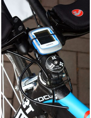Milram mechanics added a zip-tie to keep the team's Garmin Edge 500 computers from inadvertently ejecting