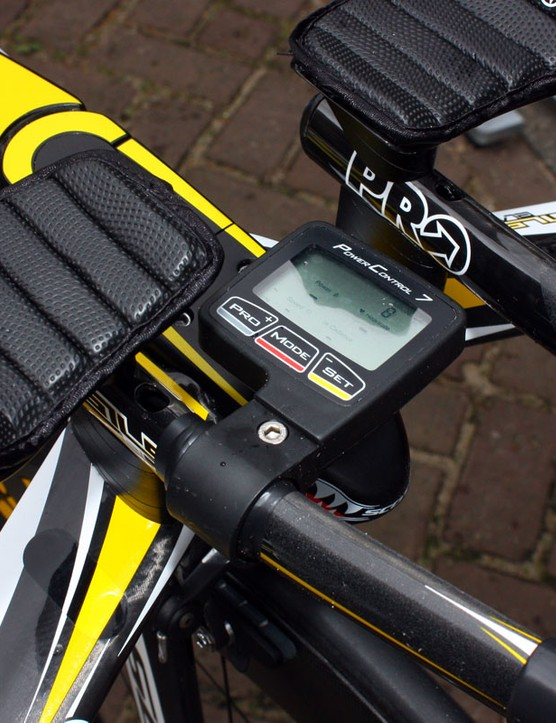 Marco Pinotti's SRM PowerControl 7 computer is mounted at an awkward right angle