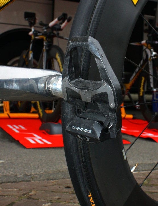 Like many Shimano-sponsored pros in this year's Giro d'Italia, Marco Pinotti is using the company's latest carbon-bodied Dura-Ace SPD-SL pedals