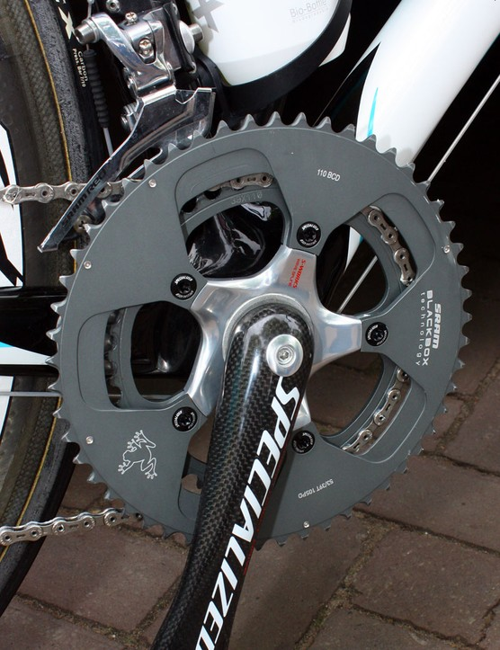 Astana riders have been using these SRAM BlackBox chainrings in team-only 110mm BCD 53/39T fitments