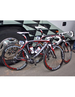 Pinarello have enjoyed a good start to this year's Giro d'Italia with a win by Bradley Wiggins on the company's new Graal. Caisse d'Epargne rider Marzio Bruseghin has one as well, though, plus a striking Dogma model for use on the road