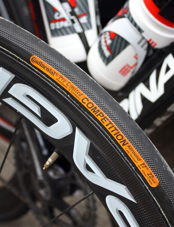 The dotted tread of Continental's Competition Pro Limited Allaround tubulars are a common sight in this year's Giro d'Italia